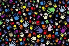 Background of many color prints of hands on a black background vector illustration