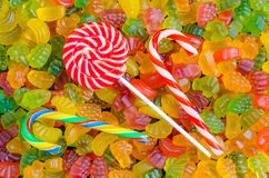 Background of many bright and colored jelly sweets with free space for text Royalty Free Stock Photo