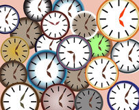 Background of many clock faces.Vector Royalty Free Stock Photos