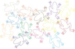 Background with many color frogs royalty free illustration