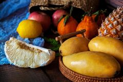Background from many different exotic fruits. royalty free stock photos