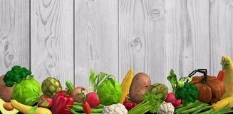 Background with many different vegetables in 3d format royalty free illustration