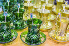 Background Many glass cups of Turkish tea at the bazaar Royalty Free Stock Photography