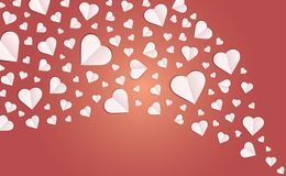 Background by many hearts  icon, White heart on the red background. Paper cut of heart shape, Logo of valentine day and love symbol Royalty Free Stock Image