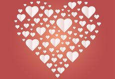 Background by many hearts  icon, White heart on the red background. Paper cut of heart shape, Logo of valentine day and love symbol Stock Photography