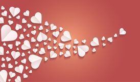 Background by many hearts  icon, White heart on the red background. Paper cut of heart shape, Logo of valentine day and love symbol Stock Image