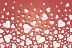 Background by many hearts  icon, White heart on the red background. Paper cut of heart shape, Logo of valentine day and love symbol Royalty Free Stock Photo