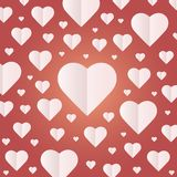 Background by many hearts  icon, White heart on the red background. Paper cut of heart shape, Logo of valentine day and love symbol Stock Photo