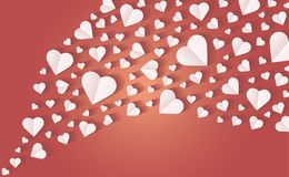 Background by many hearts  icon, White heart on the red background. Paper cut of heart shape, Logo of valentine day and love symbol Royalty Free Stock Photos