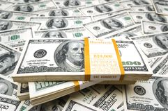 Background with many hundred dollar bills Royalty Free Stock Photos