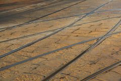 Background with many iron rails of the tramway in the metropolis Royalty Free Stock Image