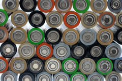 Background of many l batteries alkaline batteries Stock Photo