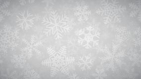 Background of many layers of snowflakes. Christmas background of many layers of snowflakes of different shapes, sizes and transparency. White on light gray vector illustration