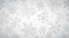 Background of many layers of snowflakes. Christmas background of many layers of snowflakes of different shapes, sizes and transparency. Gray on white royalty free illustration