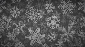 Background of many layers of snowflakes. Christmas background of many layers of snowflakes of different shapes, sizes and transparency. White on dark gray stock illustration