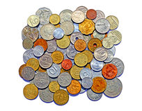 Background of many metallic coins of different countries Stock Image
