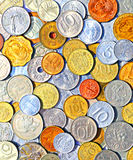 Background of many metallic coins of different countries Stock Images
