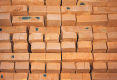 Background of many red bricks for construction Royalty Free Stock Photo