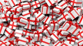 Background with many white with red ribbon Royalty Free Stock Images
