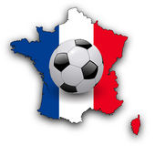 Background with map of France and soccer ball Stock Photo