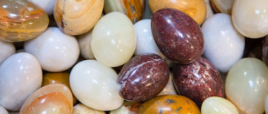 Background with Marble Eggs. Easter background banner with many different colors Marble Eggs Royalty Free Stock Photos