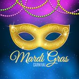 Background for Mardi Gras carnival. Gold glitter text. Luxurious gold glitter mask with sparkles for a masquerade. Golden shine. C stock illustration