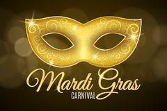 Background for Mardi Gras carnival. Gold glitter text. Luxurious gold glitter mask with sparkles for a masquerade. Golden shine. L. Ights bokeh. Vector Royalty Free Stock Images
