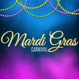 Background for Mardi Gras carnival. Gold glitter text. Welcome to the carnaval. Golden shine. Colorful balls. Violet blue smoke. M. Ysterious fog. Vector Stock Photo