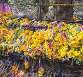 Background of Marigold garlands stock photos