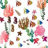 Background with marine fish stock illustration