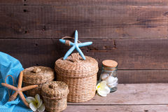 Background with  marine items on  wooden planks. Royalty Free Stock Photos