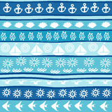 Background with marine motifs, wrapping paper stock illustration