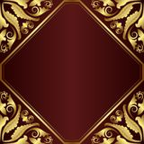 Background. Maroon background with golden ornaments Stock Photography