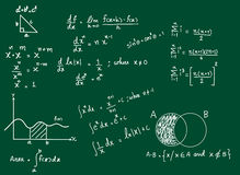 Background of mathematical formulas. Background of hand writing mathematical formulas on blackboard Stock Photos