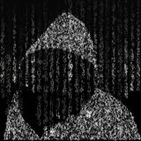 Background in matrix style. Drop random characters in black and white. On the background of a hacker in the hood of characters. Stock Photography