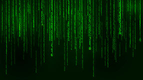 Background in a matrix style. Falling random numbers. Green is dominant color. Vector illustration Royalty Free Stock Images
