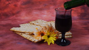 Background with matzo for Jewish Passover celebration stock video