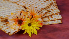 Background with matzo and wine for Jewish Passover celebration stock video footage