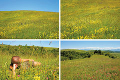 Background with meadow and a resting man Stock Images