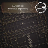 Background of mechanical engineering drawings on dark Stock Photos