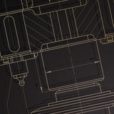 Background of mechanical engineering drawings on dark Royalty Free Stock Photo