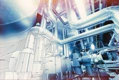 Background of mechanical engineering drawings, industry, educati Stock Photos
