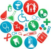 Background with medicine icons and elements Stock Image