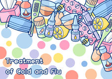 Background with medicines and medical objects. Treatment of cold and flu Stock Image