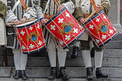 Background of a medieval soldiers, drummers Stock Image