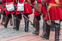 Background with medieval soldiers on march Royalty Free Stock Photography