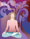 Background with meditating girl Royalty Free Stock Image