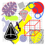 Background in a memphis style. From abstract objects, squares, circles, lines, grids, palm leaves, cones, 80s color shades on white background with cages stock illustration