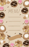 Background menu with pastries, cake, doughnut,muffin Royalty Free Stock Images