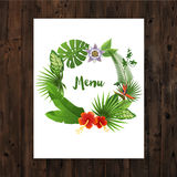 Background with menu text in tropical wreath Stock Photo